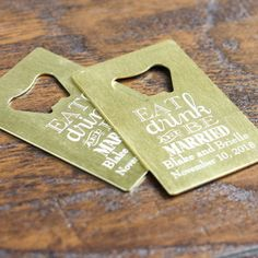 Eat Drink Be Married Personalized Credit Card Bottle Opener Favors