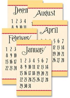 Jenni Bowlin Calendar Cards - General Yellow/Red – NoelMignon