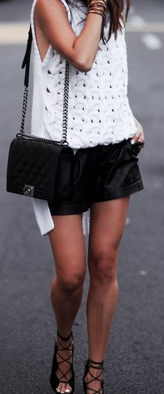 White Knit  +Black Leather Shorts                                                                             Source