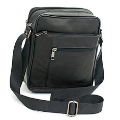 Small Genuine Leather Cross Body Messenger Bags Satchel Shoulder Bag for Men Black -- To view further for this item, visit the image link.