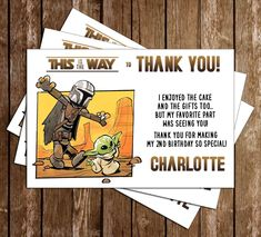 Novel Concept Designs - Star Wars - The Mandalorian - Birthday Party - Thank You Card