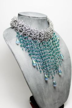 The Exotic Princess - Turquoise/Teal and Silver-Colored Aluminum Chainmail Statement Necklace