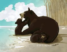 Mama Black Bear and Cubs Art Print  Blue Brown Cream by JewelRenee, $49.00