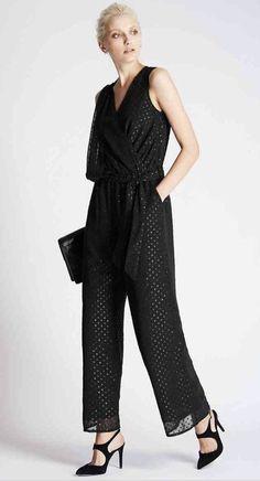 86ac235f5dd Ladies M S AUTOGRAPH Size 10 Jumpsuit Spotted Sparkle Dot Print Black  Chiffon  fashion  clothing  shoes  accessories  womensclothing   jumpsuitsrompers (ebay ...