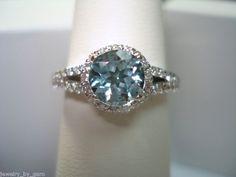 18K White Gold Aquamarine & Diamonds Cocktail Ring 1.35 Carat  HandMade. via Etsy.