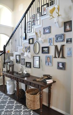 From Honey We're Home - sister-in-law house tour.  Could do this on our stair wall.