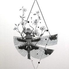 Libellule, est une reproduction réalisée à partir d'un dessin original de Mina Bruchon. Pour les amoureux étymologistes: du floral, de l'animal, du végétal...