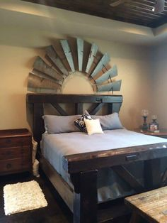 Love the windmill blades above the bed.