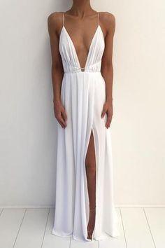 Prom Dresses bianco poco costoso semplice Beach Sexy Split lunghi, PM0169