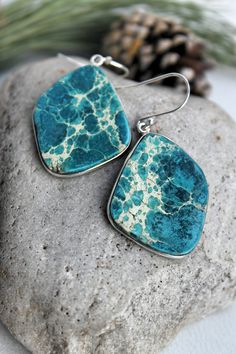 Sterling Silver/Turquoise Blue/Sea Sediment Jasper Gemstone/Free Form/Handmade Natural Stone Earrings/Unique Gifts Under 30/For Her/Mothers by studiogracie on Etsy