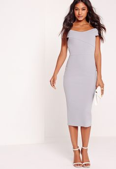 Get ready for sweet sophistication vibes this weekend and ensure all eyes are on you. Featuring a sexy shade of ice grey, crepe material, midi length and a beaut bardot style, you need this RN. Style with barely there heels and a colour con...