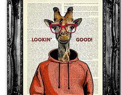 Lookin ' goede Giraffe decoratieve Artwork, Cool Poster kunst voor slaapkamer, grappige Office Decal, grappige Gift voor de mens, cadeau voor vriend, leuke kunst