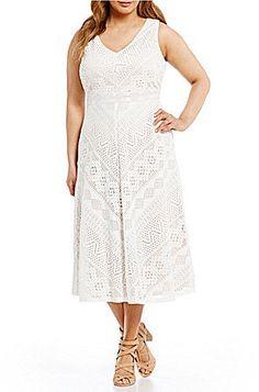 d351f31b735 Vince Camuto Plus Lace Midi Dress  plussizefashion  allwhite Lace Midi Dress