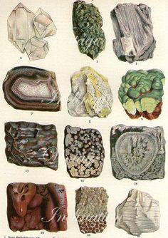 Vintage+Print+early+1900s+Antique+GEMSTONES+by+VintageInclination,+$12.50