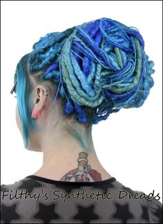 Blue Synthetic Dread Bun.