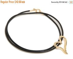 WINTER SALE Leather cord necklace with diagonal heart pendant, statement necklace, 14K gold plate / 14K Gold filled or Sterling Silver, Free