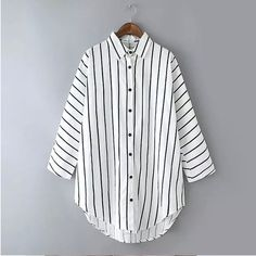 2015 Women Korean Shirts Striped Casual Cotton Button Shirt Tunic Tops Blouse  #DL #ButtonDownShirt #Casual