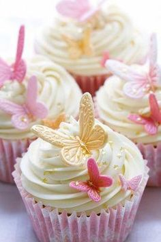 Wedding cupcakes by RuthBlack. Cupcakes decorated with pink and gold fondant but… Wedding cupcakes by RuthBlack. Cupcakes decorated with pink and gold fondant butterflies Butterfly Birthday Party, Butterfly Baby Shower, Cake Birthday, Butterfly Wedding Theme, Wedding Flowers, Birthday Parties, Spring Birthday Party Ideas, Wedding Bouquets, Butterfly Garden Party