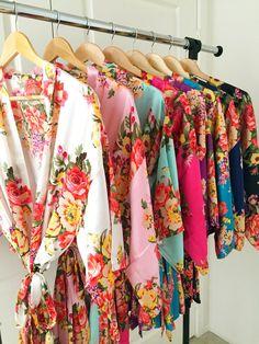 Floral silk bridesmaid robes gowns bride wedding party kimono robes Nursing Gown…