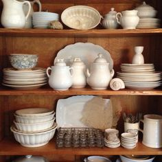 Nicely styled collection of ironstone mixed with shells