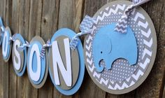 Elephant Baby Shower Banner - It's a Boy Banner or Name - Chevron Baby Shower Banner - Elephant Baby Shower Decorations - Light Blue & Gray Elephant Theme, Elephant Baby Showers, Baby Elephant, Fiesta Baby Shower, Baby Shower Games, Baby Boy Shower, Baby Shower Banners, Baby Banners, Its A Boy Banner