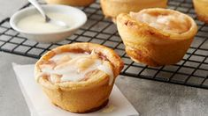 Yes, you can make tasty apple pie cups with just two ingredients! All you need are a can of Pillsbury™ refrigerated cinnamon rolls and apple pie filling. Try Carmel apple pie filling. Apple Desserts, Apple Recipes, Easy Desserts, Dessert Recipes, Quick Dessert, Summer Desserts, Easy Recipes, Mini Desserts, Delicious Desserts