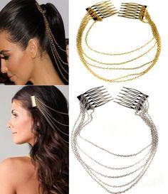 New Women Chic Hair Cuff Pin Head Band Chains 2 Combs Tassels Fringes Boho Punk | eBay