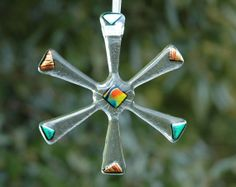 Funky Fused Glass Snowflake Star Christmas by SweetGlassGallery