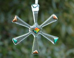 Funky Fused Glass Snowflake Star Christmas by SweetGlassGallery