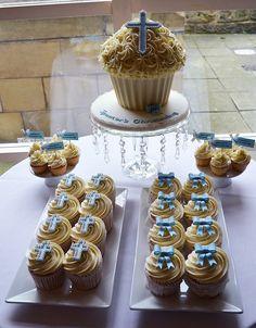 Paper Cakes Christening Giant Cupcake Cupcakes And Matching Cake Christening Cupcakes, Baptism Cookies, Christening Party, Giant Cupcake Cakes, Cupcake Cookies, Holy Communion Cakes, Paper Cake, No Bake Cake, Amazing Cakes