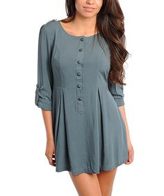 Take a look at this Dusty Green Button-Up Dress by Buy in America on #zulily today! Needs leggings. Misses Clothing, Button Up Dress, Green Button, Princess Seam, Green Dress, Frocks, Feminine, Tunic Tops, Buttons