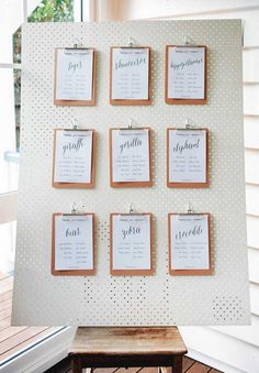 Use white pegboard to hang wall weavings on somewhere 9ceremony or reception or both).