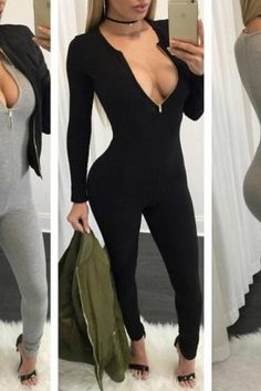 44bc557e79 bodysuits · 2016 New Arrival Sexy V neck long sleeve Rompers Womens Jumpsuit  Black Jumpsuits overalls casual clothes