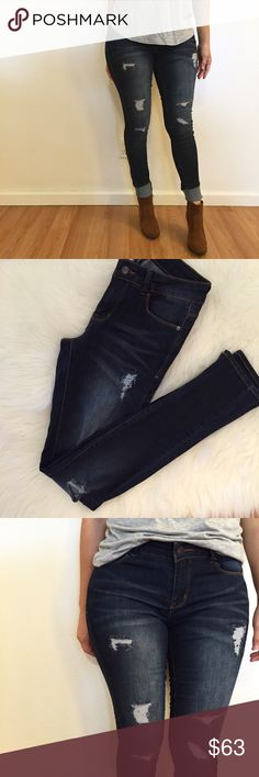 Dark Stone Destroyed Skinny Jeans Beautiful Dark Wask Destroyed Skinny Jeans. Juniors sizing. Fit true to size. Stretch denim. Super comfy. Mid rise. Jeans Skinny