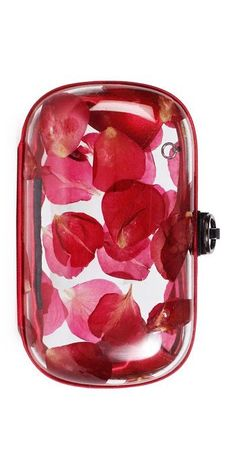 Reese Hudson - absolutely smitten with thris transparent clutch and its playfully cast rose petal ! My Bags, Purses And Bags, Unique Purses, Floral Fashion, Be My Valentine, Beautiful Bags, Clutch Purse, Evening Bags, Red And Pink