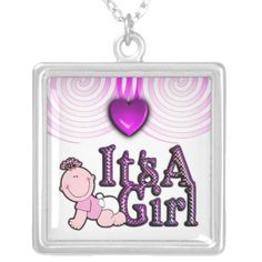Its A Girl Baby Spiral Sterling Silver Necklace