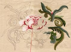 Crewel Embroidery Design Begun as a rather unsatisfactory painted study of a lotus in the Chinese style, the design kept insisting it was needlework. It finally its . Jacobean Embroidery, Chinese Embroidery, Tambour Embroidery, Types Of Embroidery, Learn Embroidery, Embroidery Needles, Silk Ribbon Embroidery, Cross Stitch Embroidery, Embroidery Patterns