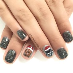 May the force be with you star wars Christmas nail art design