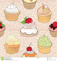 pastry-seamless-wallpaper-muffin-over-polka-dot-seamless-pattern-sweets-background-tea-time-vintage-party-vector-illustration-35144401.jpg (1300×1386)