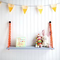 Kids Room Shelf hanging Display Rope Shelf by NorthWestMidWest, $17.00