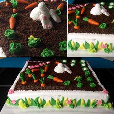 Celebrating Bella's 2nd birthday! Cake inspired by Linda Marklund's carrot cake. #carrotcake #bunnycake #2ndbirthday #whereisthebunny #layeredcake #fondantdecoration #cutecakes