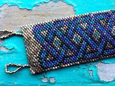 Peyote Stitch Bead Weave Bracelet - Brass, Blue and Black Iris EBW TEAM