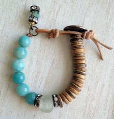 Amazonite // African Recycled Glass //  Wood Beads // Beaded Bracelet  // Rhinestone Beads // Leather and Button Clasp