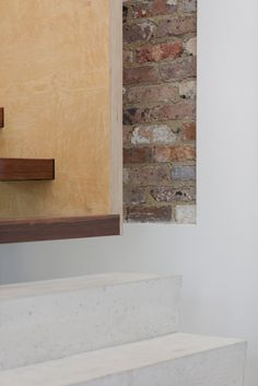 (c) Brett Boardman  Architecture, Stairs, Detail, Exposed Brick, Render, Concrete, Timber, Plywood  http://www.samcrawfordarchitects.com.au/campbell-house-2/#