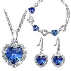 Pauline & Morgen «Amour Bleu» Parure Bracelet Collier Boucles d'Oreilles pour femme bijoux cristal plaque or blanc-cadeau anniversaire…