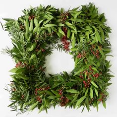 Square Bay Leaf and Pepperberry Wreath, 12