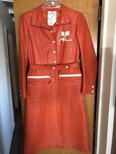 3ad9b500c08 Vintage Andre Courreges VINYL Rain Coat Orange Original 1960s MOD  Futuristic HTF! Made In France