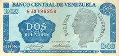 Pieza bbcv2bs-aa01-bu7 (Anverso). Billete del Banco Central de Venezuela. 2 Bolívares. Diseño A, Tipo A. Fecha Octubre 05 1989. Serie BU7