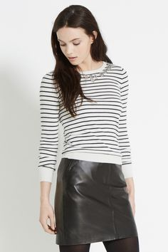Coloured Embellished Stripe To | Natural | Oasis Stores
