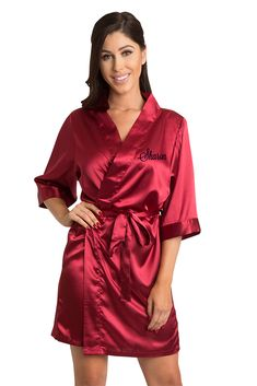 45dfadc27b Personalized Embroidered Silky Satin Robe